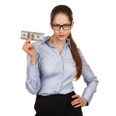 Girl with glasses holding a hundred dollar bill — Stock Photo