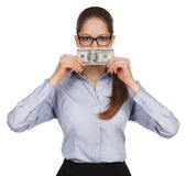 Girl holding a hundred dollar bill — Stock Photo