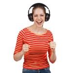 Woman having fun with music headphones — Stock Photo
