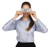 Woman blocking the face of hundred dollar bills — Stock Photo