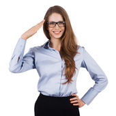 Cute woman in glasses welcomes someone — Stock Photo