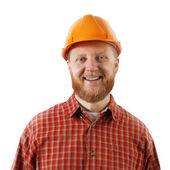 Bearded man in a protective construction helmet — Foto Stock