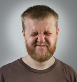 Young red-bearded man with eyes closed — Stock Photo