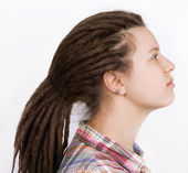 Beautiful woman with hair braided in dreadlocks — Foto Stock