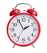 Red alarm clock on white background — Stock Photo