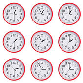 Clock shows the time from one hour to three — Stockfoto