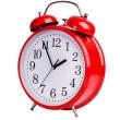 rot alarm clock auf weißem hintergrund — Stockfoto #45444575