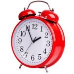 červený budík na bílém pozadí — Stock fotografie #45444575