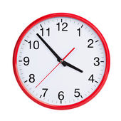 Five to four on round clock face — Stock Photo