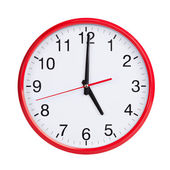 Exactly five on round clock face — Stock Photo