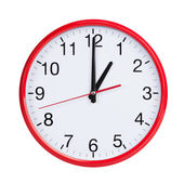 Round clock shows exactly one o'clock — Stock Photo