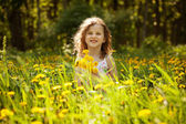 Little girl with a bouquet of dandelions — Stock Photo