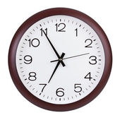 Round clock shows five minutes to seven — Stock Photo