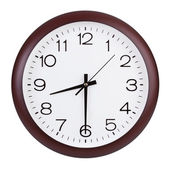 Round clock shows half of the ninth — Stock Photo