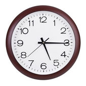 Fifteen minutes to six hours on a large clocks — Stock Photo