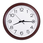 Fifteen minutes of the ninth on the round clock — Stock Photo