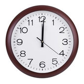 Noon on the dial of the round clock — Stock Photo