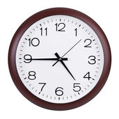 Quarter to five on a round clock — Stock Photo