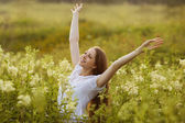 Happy woman in a state of rapture — Stock Photo