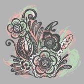 Papel amassado com tinta doodle flores sem emenda — Vetor de Stock