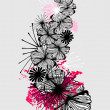 Stock Photo: Doodle flower ink pattern