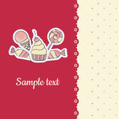 Greeting card with hand drawing candies — Vetorial Stock
