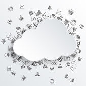 Abstract cloud with hand drawn diagram icons — Stock Vector