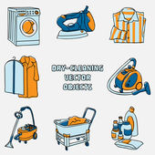 Dry-cleaning and laundry objects — Stock Vector