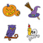 Halloween attributes in cartoon style — Stock Vector #13274021