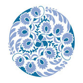 Blue floral decoration round vignette. — Stockvektor