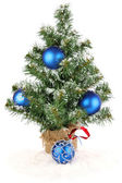 Christmas tree with blue decoration christmas tree with blue decoration christmas tree with blue decoration — Stock Photo