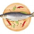 Herring with spice on wooden plate — Stock Photo