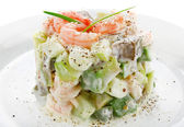 Salad of shrimp avocado and apple — Stock Photo