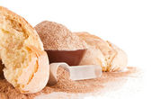 Home baked goods with brans and measure spoon — Stock Photo