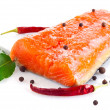 Stock Photo: Fresh salmon fillet with salt and spice