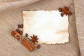 Vintage sheet paper with spice — Stock Photo