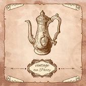 ビンテージ コーヒー鍋 — ストックベクタ