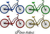 Colorful bikes — Stock Vector