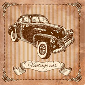 Car in the style of engraving — Vettoriale Stock