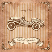Car in the style of engraving — Vector de stock