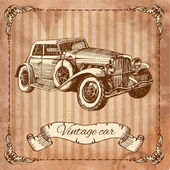 Car in the style of engraving — Vecteur