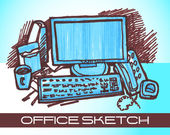 Office sketch — Stock Vector