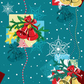 Seamless Christmas pattern of red and golden bells. — Stock Vector