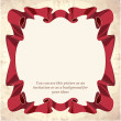 Vintage red ribbon frame on grunge background — Stock Vector