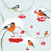 Seamless winter background with bullfinch — Stock Vector
