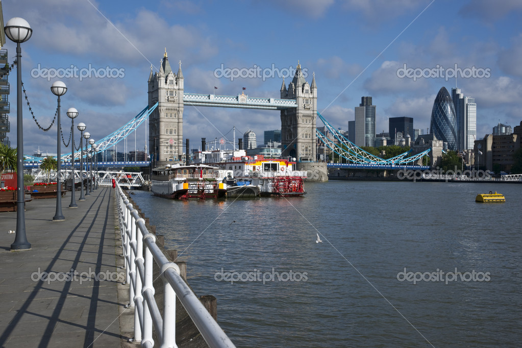 The River Thames near Tower Bridge in London, England.  Stock Photo #12255933