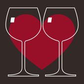 Love Wine Glasses — Stock Vector