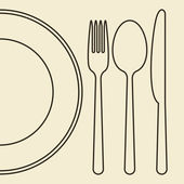 Plate, knife, fork and spoon — Stock Vector