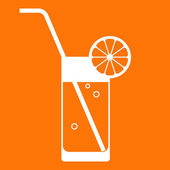 Orange juice glass with drinking straw — Stock Vector