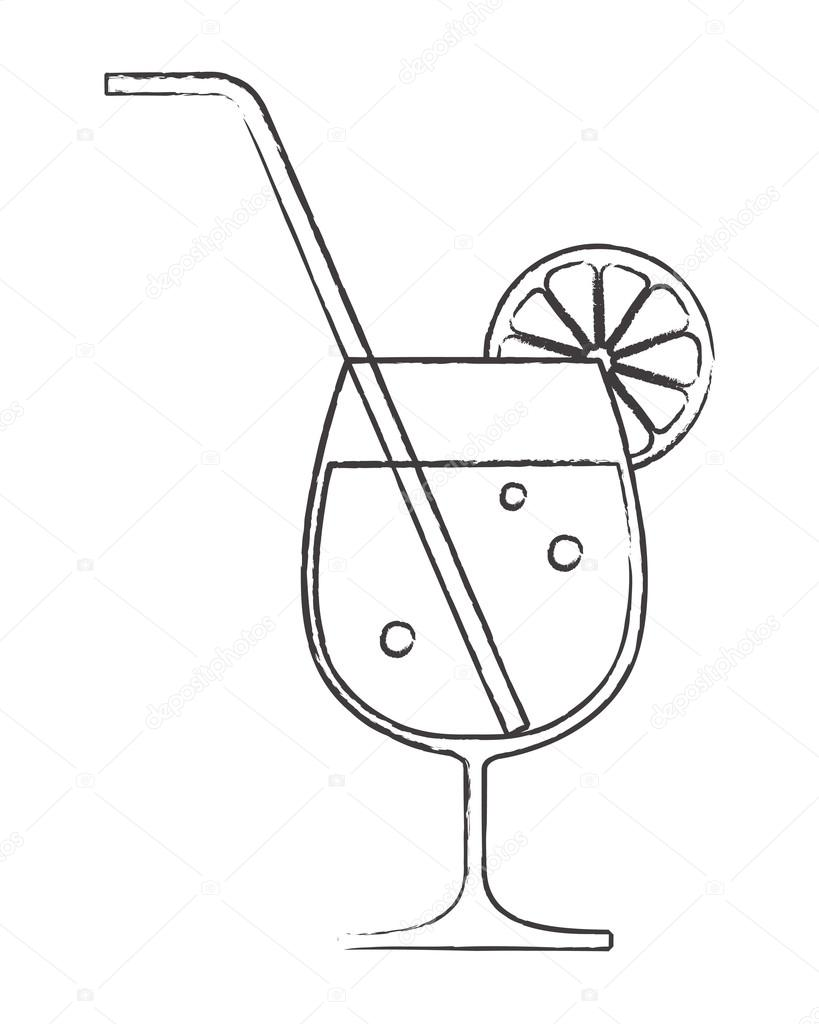 cocktail glass with lemon and straw stock
